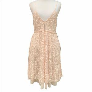 Intimately Free People Pale Pink Boho Slinky Mesh Floral Nicolette Slip l Dress